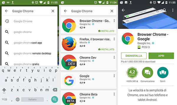 Installare Chrome dal Play Store